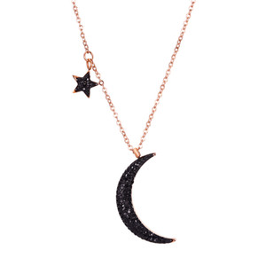Star and Moon Pendant Necklace Stainless Steel 14k Gold Plated Black Zircon Titanium Steel Necklace Jewelry Women Girl's Gift