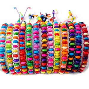 100 adet / grup Renkli Ahşap Boncuk Örgü Halat Dize Çocuk Kız Dostluk Bilezik El Yapımı Charm Strand Bileklik Plaj Takı