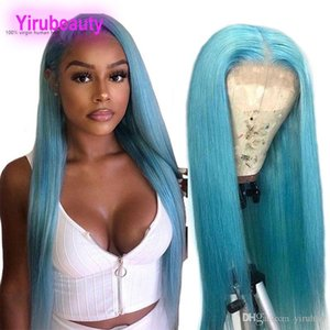 Peruvian Human Hair 13X4 Lace Front Wig Straight Light Blue Yellow Red Lace Front Wigs Silky Straight 12-26inch 13 By 4 Lace Front Wig Grey