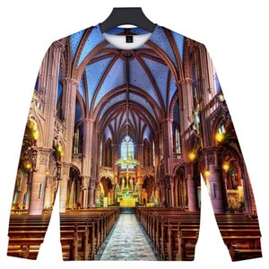 Mens 3D Designer Hoodies Notre Dame de Paris O-neck Pullovers Long Sleeved Sweatshirts