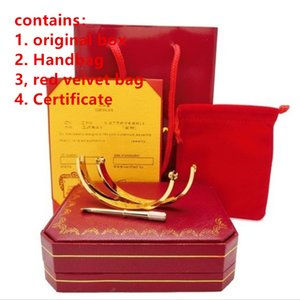 Aço inoxidável 316L pulseiras amor parafuso com chave de fenda com caixa original nunca parafuso perder o amor pulseira homem mulheres Bangles Amor