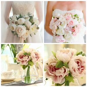 5 teste artificiale seta Peony bouquet di fiori di ortensia decorazione della festa nuziale bianco / rosa / rosa chiaro / viola chiaro