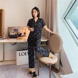 Nette gedruckte Frauen Nachtwäsche Fashion Soft Touch Lady Ice Silk Pyjama Set Geburtstags-Geschenk für Famale Lässige Heim Kleidung