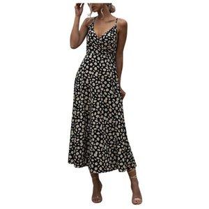 SAGACE Dress Women Summer Floral Print Boho Long Dress Sleeveless Evening Party Beach Sundress summer clothes for women