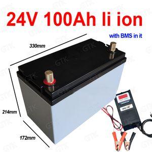 Wasserdichte 24-V 100Ah-Lithium-Ionen-Batterie Li-Ion mit BMS 7s für Solarenergie-Speicher-Golfwagen Gabelstapler Gabel Carava + 10A Ladegerät