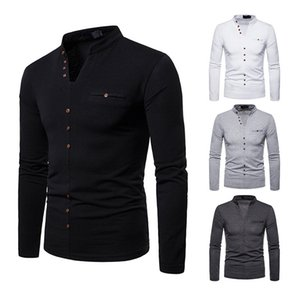 Autumn Designer Mens Tshirts Long Sleeve V Neck Thick Mens Tops Casual Male Tees With Button