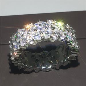 Choucong Zarif Çiçek Şekli Promise ring Elmas 925 Ayar gümüş Nişan Düğün Band Yüzükler kadınlar Takı için