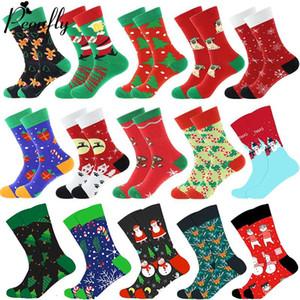 Arbre de Noël neige Elk cadeau Cotton Happy Socks PEONFLY Nouveau 2019 Noël Automne Hiver Chaussettes hommes drôle Nouvel An Père Noël