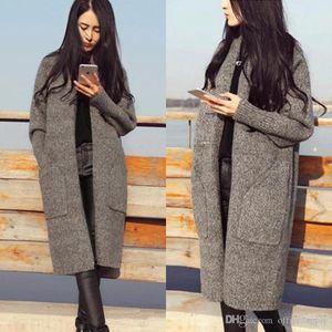 Femmes Cardigan 2018 Casual épais tricot Automne Hiver Mode Cardigan Pulls Avec grande poche Femme Manteau