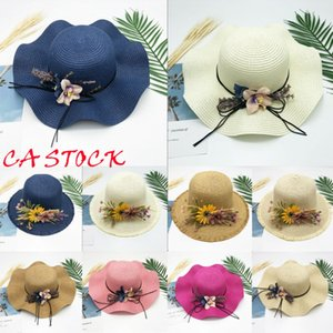New Floppy Foldable Ladies Women Straw Beach Sun Summer Hat Beige One Size Wide Wholesale