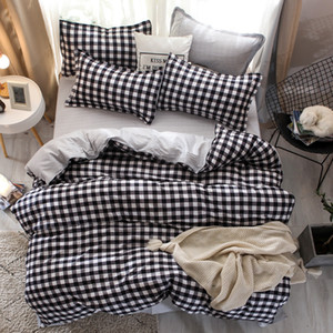 Black white Grey Classic bedding set striped duvet cover white bed linen set Geometric flat queen bed set Fashion new