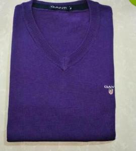 Марка Зимнего свитер gannnt Мужчина V-образного вырез Повседневного вязание Перемычки Свитер мужской с длинным рукавом Пуловеры Известный