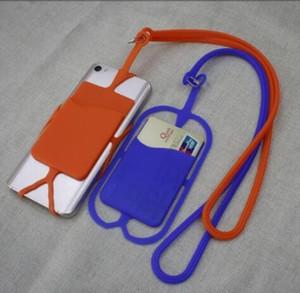 실리콘 전화 방아 끈 목 스트랩 휴대 전화 케이스 실리콘 삽입 카드 커버 목걸이 슬링 카드 홀더 파티 GGA2762 호의