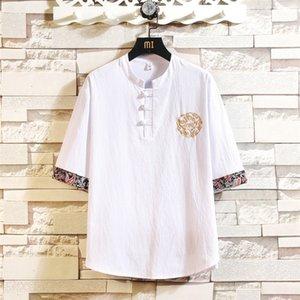 Botão de Algodão Linho sapo de Homens Shanghai História Casual Bordado chinês estilo do bordado camisas