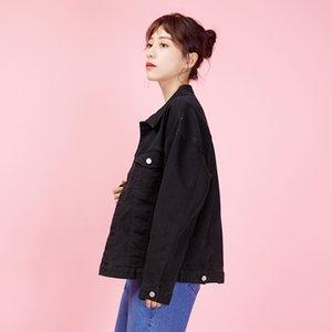 LEIJIJEANS primavera e l'autunno Large Size casual bavero della giacca di jeans più di formato classico ragazzo nero denim allentato donne jacket9001