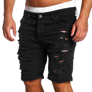 Moda Rasgado Agujero pantalones cortos de mezclilla hombres Negro Blanco flaca delgada rectos ocasionales los pantalones cortos para hombre de la vendimia de la cintura baja de corto homme