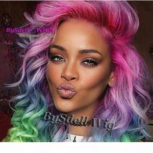 Glamour Bunte Luxus-Körper-Wellen-Haar-Spitze-Front-Perücke Star Rihanna Stil Synthetic Patel Einhorn Regenbogen-Farben-Haar-volle Spitze-Front-Perücken