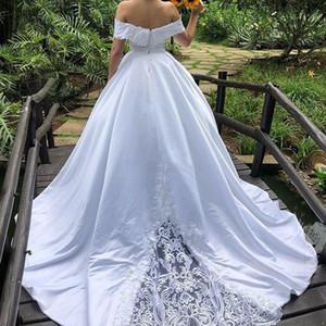 화이트 레이스 웨딩 드레스 빈티지 디자인 오프 숄더 꽃 아플리케 2019 가을 웨딩 드레스 사용자 정의 플러스 사이즈 가을