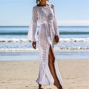 2020 Crochet White Knitted Beach Cover ups Swim Wear Weap Tonic Long Pareos Seat Bei coverup Swim cover up Robb Plage Beachwear