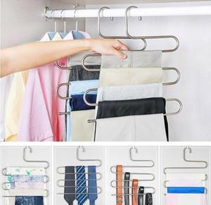 Porte-pantalon en acier inoxydable - 5 couches S forme pantalon multifonction cintres de rangement porte-ceinture garde-robe rack espace de stockage