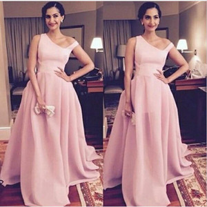 Cheap Pink Saudi Arabic Evening Dresses A Line Satin Long Formal Prom Dresses Plus Size Women Party Gowns Robe De Soiree