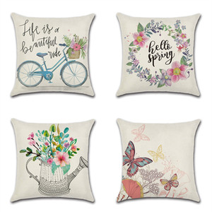 45 * 45 cm de algodón de lino del amortiguador de la cubierta de flores de primavera de bicicletas Alquiler tema de la granja Pillow caso silla de la decoración del hogar funda de almohada