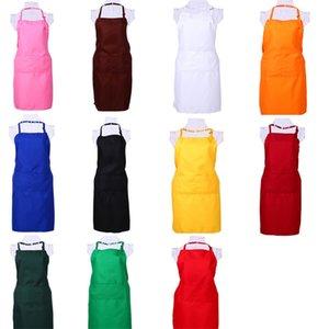 Delantal de múltiples colores Color sólido Bolsillo grande Familia Cocinar Cocinar en casa Hornear Herramientas de limpieza Babero Hornear Arte Delantal