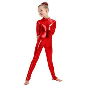 SPEERISE дети с длинным рукавом металлические комбинезоны стремена Танцевальная гимнастика купальники девушки блестящая танцевальная одежда сценическое представление шоу костюм