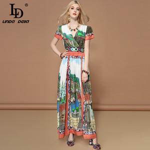 LD LINDA DELLA Fashion Runway Vacation Holiday Dress V Neck donna stampato Stampato Vita lunga Bohemian Summer Maxi Long Dress
