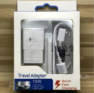 100PCS Alta Qualidade 15W Adaptive 100% carregamento rápido US UE viagem carregador de parede + 1.5M Micro cabo USB para Samsung S6 S7 Borda Nota 4 5