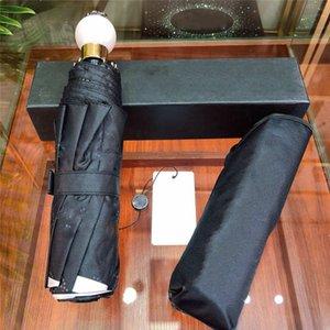 Ensolarados chuvosos guarda-chuva meninas Os melhores presentes de luxo Pérola Bola Handle Umbrella Verão Anti-UV Guarda-sol automático completo Dobre