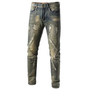 Mens Cool Designer Marca rasgado Lápis Skinny Jeans Destruído calças stretch Slim Fit Hop Hop com furos para Homens