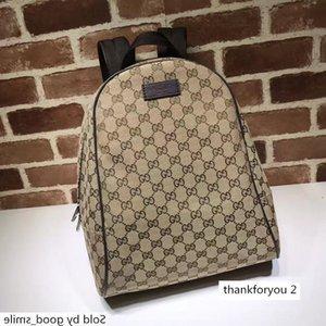 Designer Celebrity Letter Embossed Brown Leather Backpack Man Woman 449906 Canvas Travel Bag