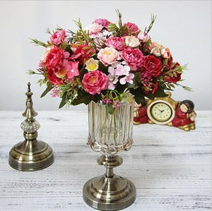 Artificial Flowers Rose Silk Flowers Bouquet Small Peony Fake Flowers Faux flores Wedding Home DIY Decoration Valentine's Day GD209