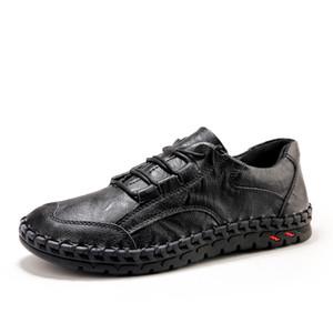 Homens Leather Sneakers Brand Design homens preguiçosos sapatos casuais couro genuíno mocassim Boat Walking Sapato Raso Oxford Homens New Shoes
