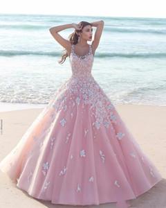 두바이 아랍어 공주 3D 꽃 무늬 꽃 핑크 A 라인 웨딩 드레스 2020 새해 얇은 명주 그물 국자 쉬어 넥 민소매 레이스 긴 신부 드레스