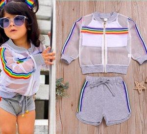 Sıcak Yaz Yeni Kız Giyim Güneş Koruma Tops ayarlar + Katı Şort + Katı Yelek Kıyafetler seti çocuklar Çocuk Bezi