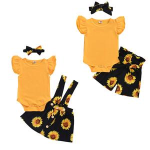 3Pcs/مجموعة الاطفال الفتيات عباد الشمس تحلق كم رومبير قمم القوس عصابات عباد الشمس طباعة السراويل sunpender تنورة ملابس الاطفال oufits M1463