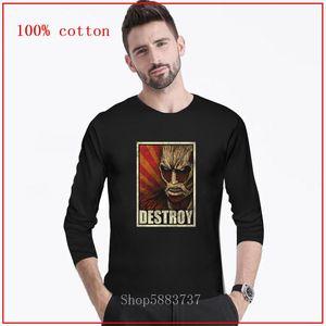 Colossal Titan Destruir japonês Ataque Anime on Titan homens Camiseta Cosplay Shingeki T-shirt longa 100% algodão de Ouro Anime