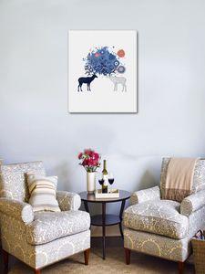 달콤한 사슴 꽃 동물 DIY 홈 인테리어를 들어 거실 독특한 선물 작품을 회화 숫자 벽 아트 캔버스에 의해 회화