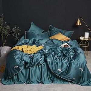 Lüks ipek yatak konfor kraliçe yatak seti taklit ipek baskılı yatak örtüsü yatak örtüsü yastık kılıfı 4 adet T200415