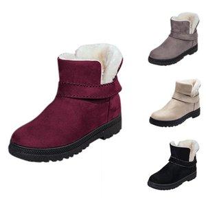 SHUJIN снег сапоги женские зимние теплые пушистые меховые туфли случайные плоские круглые toe загрузки женский половина пояса пряжки короткие сапоги