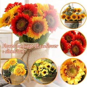 Artificial Flower Fake Sunflower Silk Flower Bouquet Wedding Party Floral Decorations Supplies Artificial Decorations Y
