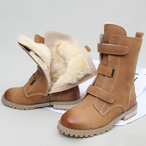 Fur Snow Boots Women Winter Fleece Lining Thick Mid-Calf Booties British Style Brown Black Genuine Leather Half Boots Female