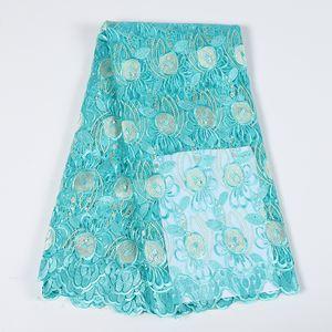 Neueste afrikanische Hochzeit Spitzegewebe blau Spitzenstickerei nigerian Gewebe Qualitäts-Polyester-Spitze Tüll Stoff BF0023