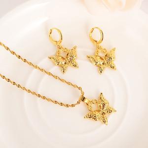فراشة لطيف الصلبة الذهب معبأ مجوهرات مجموعات قلادة قلادة أقراط مجموعات مجوهرات قلادة القرط مجموعة