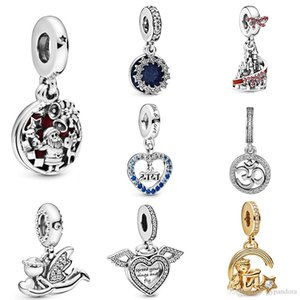 DoniA 100% 925 Sterling Silver Inspirational Stars & Blue Enamel Dangle Shine Angel & Shooting Star Dangle Charm Pendant