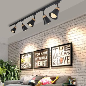 Modern Wood Ceiling Spot Led Track Light E27 Track Lamp Lights Rail Spotlights LEDs Tracking Fixture for Background Shop Store
