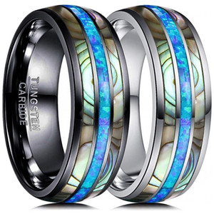 8mm Moda Tungsten karbür yüzüğü Aksesuar Kakma Mavi Opal Abalone Shell Unisex Alyans Yıldönümü Hediyesi