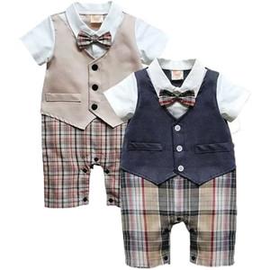 2019 canis sommer neugeborenen kinder baby boy säuglings top plaid strampler overall shorts kleidung sets outfits formelle gentleman hochzeit anzüge